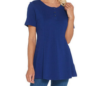 Essentials Round Neck Fit and Flare Henley Knit To